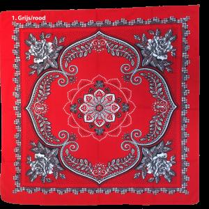 Zakdoek 1 grijs/rood